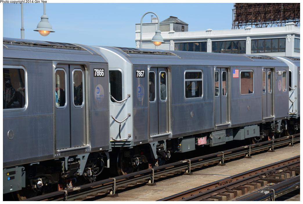 (335k, 1044x703)<br><b>Country:</b> United States<br><b>City:</b> New York<br><b>System:</b> New York City Transit<br><b>Line:</b> IRT Flushing Line<br><b>Location:</b> 33rd Street/Rawson Street<br><b>Route:</b> 7<br><b>Car:</b> R-188 (Kawasaki, 2012-) 7867 <br><b>Photo by:</b> Gin Yee<br><b>Date:</b> 4/10/2014<br><b>Viewed (this week/total):</b> 0 / 1445