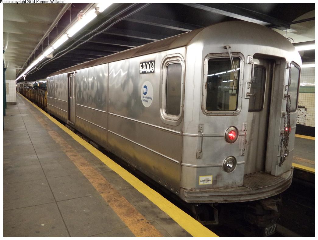 (307k, 1044x788)<br><b>Country:</b> United States<br><b>City:</b> New York<br><b>System:</b> New York City Transit<br><b>Line:</b> IND Crosstown Line<br><b>Location:</b> Bedford/Nostrand Aves.<br><b>Route:</b> Work Service<br><b>Car:</b> R-127/R-134 (Kawasaki, 1991-1996) EP008 <br><b>Photo by:</b> Kareem Williams<br><b>Date:</b> 7/26/2013<br><b>Viewed (this week/total):</b> 1 / 1541