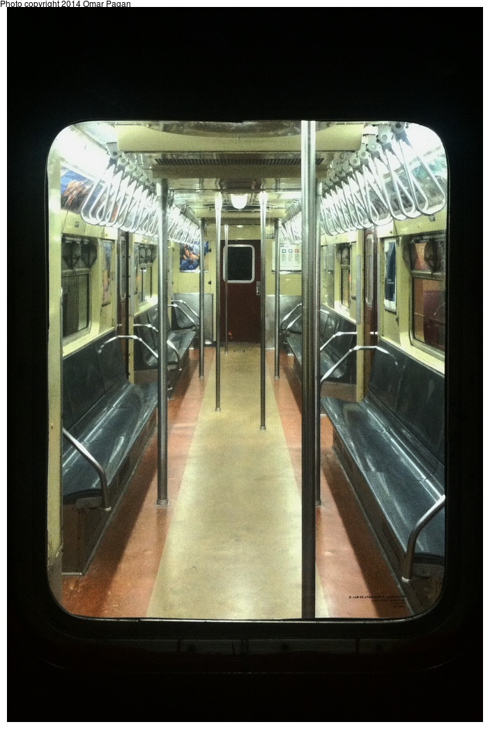 (264k, 703x1045)<br><b>Country:</b> United States<br><b>City:</b> New York<br><b>System:</b> New York City Transit<br><b>Location:</b> New York Transit Museum<br><b>Car:</b> R-36 World's Fair (St. Louis, 1963-64) 9587 <br><b>Photo by:</b> Omar Pagan<br><b>Date:</b> 5/16/2014<br><b>Notes:</b> Interior at Transit Museum<br><b>Viewed (this week/total):</b> 2 / 1396