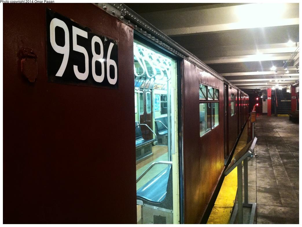 (280k, 1044x785)<br><b>Country:</b> United States<br><b>City:</b> New York<br><b>System:</b> New York City Transit<br><b>Location:</b> New York Transit Museum<br><b>Car:</b> R-36 World's Fair (St. Louis, 1963-64) 9586 <br><b>Photo by:</b> Omar Pagan<br><b>Date:</b> 5/16/2014<br><b>Notes:</b> Exterior at museum<br><b>Viewed (this week/total):</b> 5 / 2815