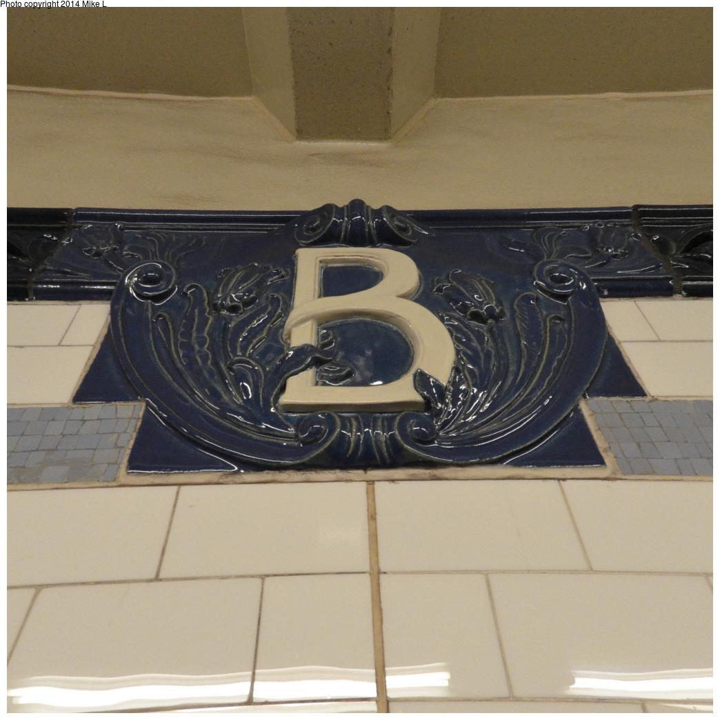 (381k, 1044x1044)<br><b>Country:</b> United States<br><b>City:</b> New York<br><b>System:</b> New York City Transit<br><b>Line:</b> IRT East Side Line<br><b>Location:</b> Bleecker Street<br><b>Photo by:</b> Mike L.<br><b>Date:</b> 5/25/2014<br><b>Notes:</b> New B tablet, uptown platform extension<br><b>Viewed (this week/total):</b> 0 / 1069