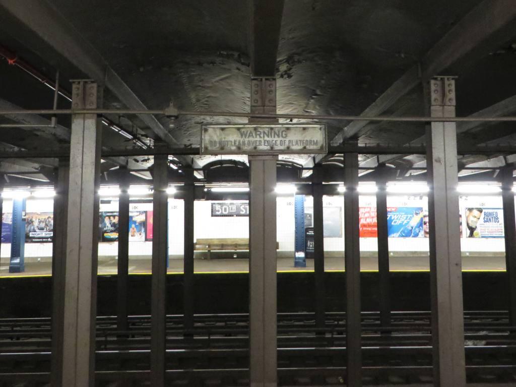 (96k, 1024x768)<br><b>Country:</b> United States<br><b>City:</b> New York<br><b>System:</b> New York City Transit<br><b>Line:</b> IND Queens Boulevard Line<br><b>Location:</b> 50th Street<br><b>Photo by:</b> Robbie Rosenfeld<br><b>Date:</b> 5/27/2014<br><b>Notes:</b> Do not lean sign<br><b>Viewed (this week/total):</b> 0 / 2158