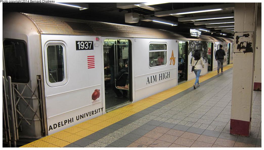 (262k, 1044x595)<br><b>Country:</b> United States<br><b>City:</b> New York<br><b>System:</b> New York City Transit<br><b>Line:</b> IRT Times Square-Grand Central Shuttle<br><b>Location:</b> Grand Central<br><b>Route:</b> S<br><b>Car:</b> R-62A (Bombardier, 1984-1987) 1937 <br><b>Photo by:</b> Bernard Chatreau<br><b>Date:</b> 4/8/2011<br><b>Viewed (this week/total):</b> 4 / 914