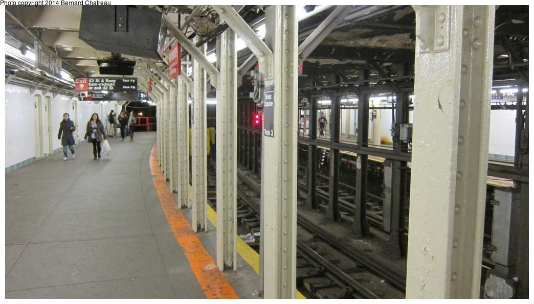 (259k, 1044x595)<br><b>Country:</b> United States<br><b>City:</b> New York<br><b>System:</b> New York City Transit<br><b>Line:</b> IRT Times Square-Grand Central Shuttle<br><b>Location:</b> Times Square<br><b>Photo by:</b> Bernard Chatreau<br><b>Date:</b> 4/8/2011<br><b>Viewed (this week/total):</b> 5 / 1178