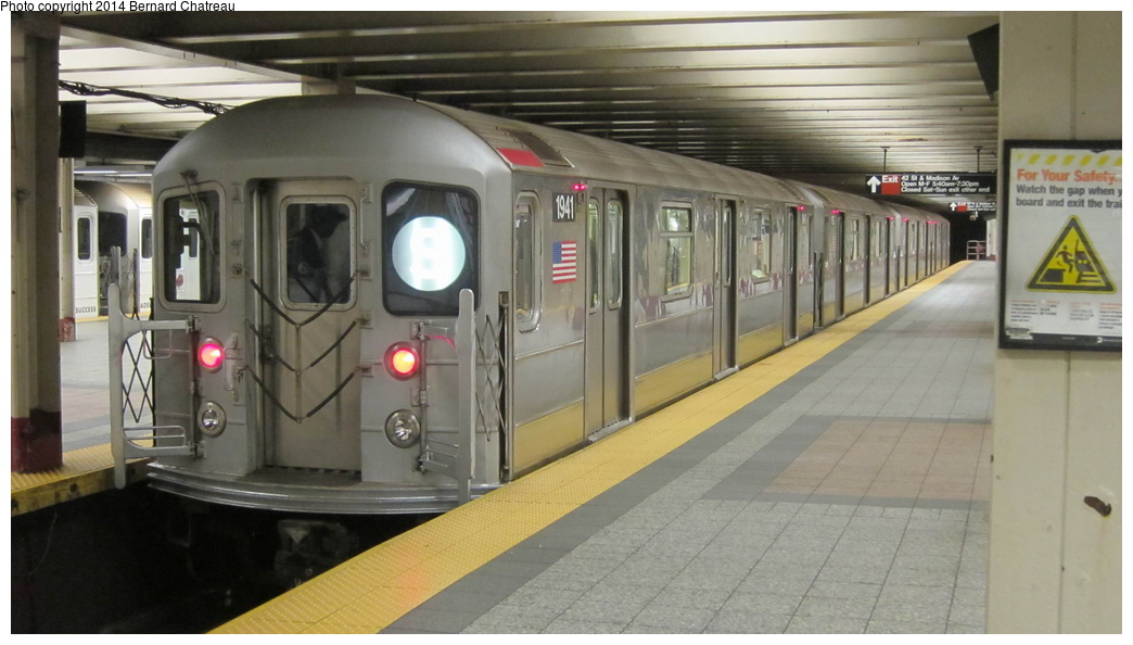 (220k, 1044x594)<br><b>Country:</b> United States<br><b>City:</b> New York<br><b>System:</b> New York City Transit<br><b>Line:</b> IRT Times Square-Grand Central Shuttle<br><b>Location:</b> Grand Central<br><b>Route:</b> S<br><b>Car:</b> R-62A (Bombardier, 1984-1987) 1941 <br><b>Photo by:</b> Bernard Chatreau<br><b>Date:</b> 4/8/2011<br><b>Viewed (this week/total):</b> 6 / 1113