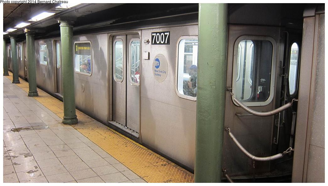 (271k, 1044x594)<br><b>Country:</b> United States<br><b>City:</b> New York<br><b>System:</b> New York City Transit<br><b>Line:</b> IRT Lenox Avenue Line<br><b>Location:</b> 135th Street<br><b>Route:</b> 2<br><b>Car:</b> R-142 (Option Order, Bombardier, 2002-2003) 7007 <br><b>Photo by:</b> Bernard Chatreau<br><b>Date:</b> 9/23/2011<br><b>Viewed (this week/total):</b> 1 / 1615