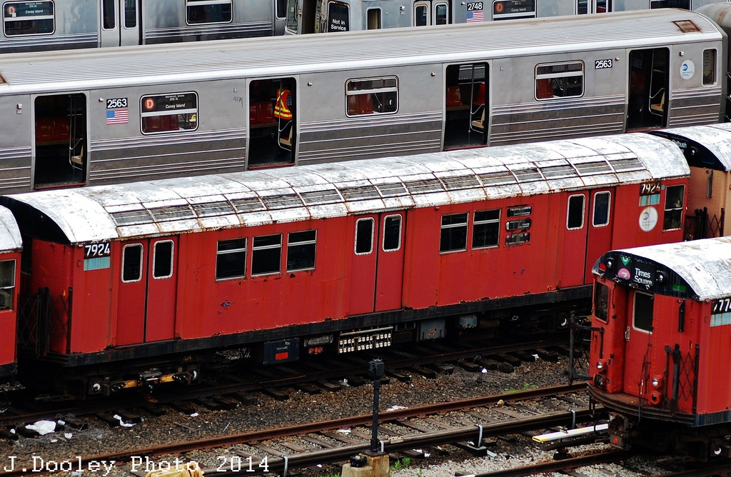 (393k, 1024x668)<br><b>Country:</b> United States<br><b>City:</b> New York<br><b>System:</b> New York City Transit<br><b>Location:</b> Concourse Yard<br><b>Car:</b> R-28 (American Car & Foundry, 1960-61) 7924 <br><b>Photo by:</b> John Dooley<br><b>Date:</b> 6/19/2014<br><b>Viewed (this week/total):</b> 6 / 2451