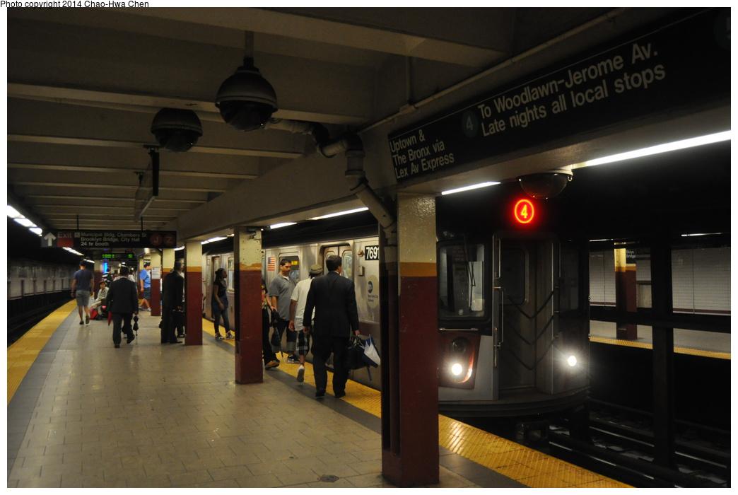 (277k, 1044x700)<br><b>Country:</b> United States<br><b>City:</b> New York<br><b>System:</b> New York City Transit<br><b>Line:</b> IRT East Side Line<br><b>Location:</b> Brooklyn Bridge/City Hall<br><b>Route:</b> 4<br><b>Car:</b> R-142A (Option Order, Kawasaki, 2002-2003) 7691 <br><b>Photo by:</b> Chao-Hwa Chen<br><b>Date:</b> 8/13/2013<br><b>Viewed (this week/total):</b> 0 / 1959