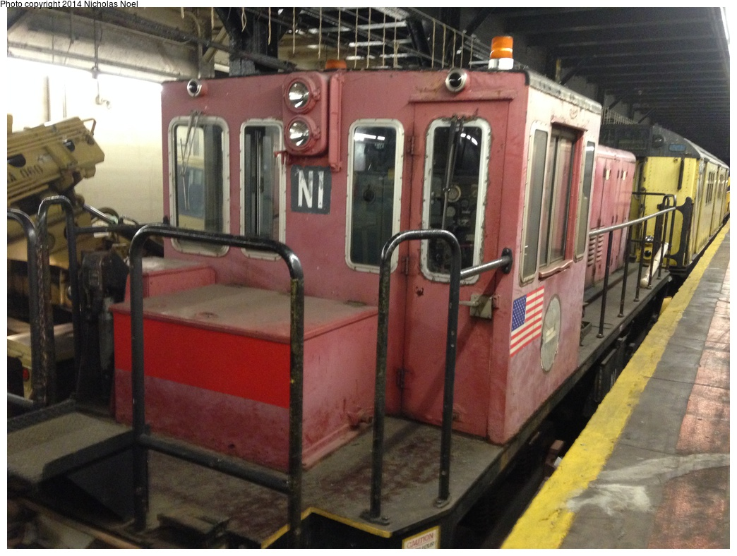 (297k, 1044x788)<br><b>Country:</b> United States<br><b>City:</b> New York<br><b>System:</b> New York City Transit<br><b>Line:</b> IRT Dyre Ave. Line<br><b>Location:</b> Pelham Parkway<br><b>Route:</b> Work Service<br><b>Car:</b> R-47 (SBK) Locomotive N1 <br><b>Photo by:</b> Nicholas Noel<br><b>Date:</b> 10/14/2014<br><b>Viewed (this week/total):</b> 6 / 1278