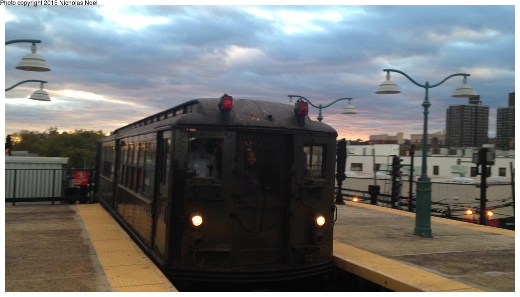 (184k, 1044x596)<br><b>Country:</b> United States<br><b>City:</b> New York<br><b>System:</b> New York City Transit<br><b>Line:</b> IRT White Plains Road Line<br><b>Location:</b> East 180th Street<br><b>Route:</b> Fan Trip<br><b>Car:</b> Low-V (Museum Train) 5443 <br><b>Photo by:</b> Nicholas Noel<br><b>Date:</b> 10/26/2014<br><b>Viewed (this week/total):</b> 0 / 1274