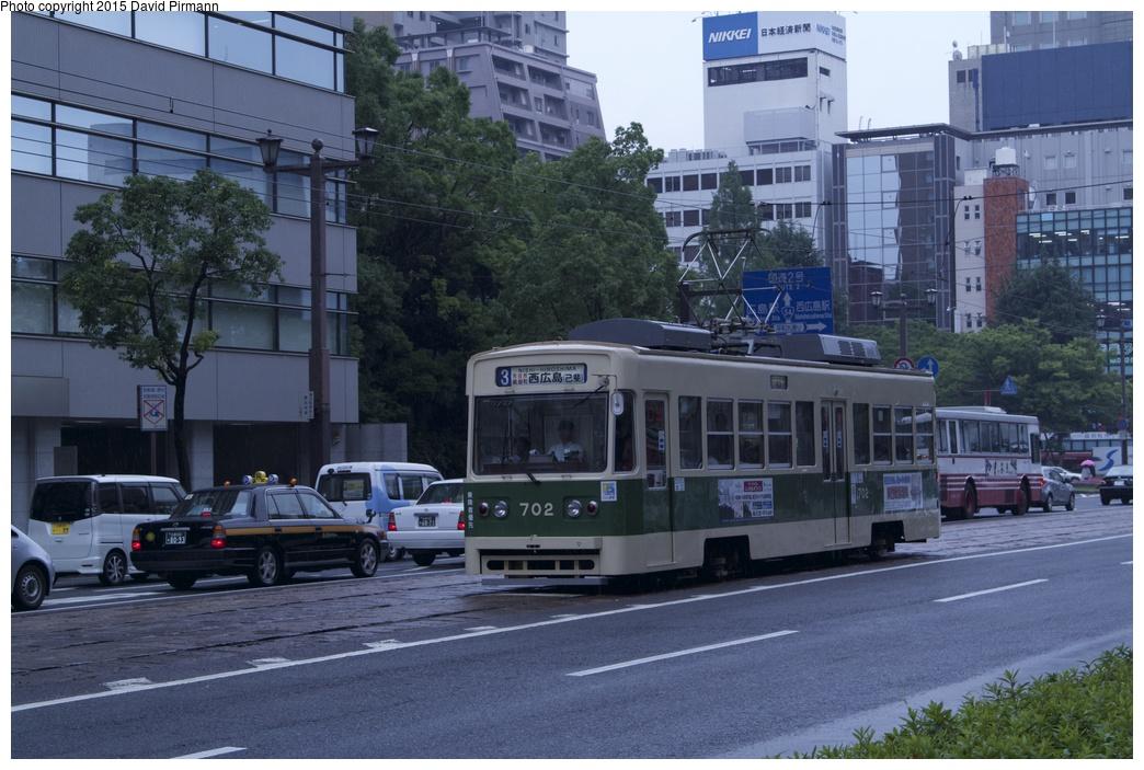 (285k, 1044x703)<br><b>Country:</b> Japan<br><b>City:</b> Hiroshima<br><b>System:</b> Hiroden (Hiroshima Electric Railway)<br><b>Location:</b> U2 Fukuro-machi 袋町<br><b>Car:</b>  702 <br><b>Photo by:</b> David Pirmann<br><b>Date:</b> 6/11/2015<br><b>Viewed (this week/total):</b> 1 / 520