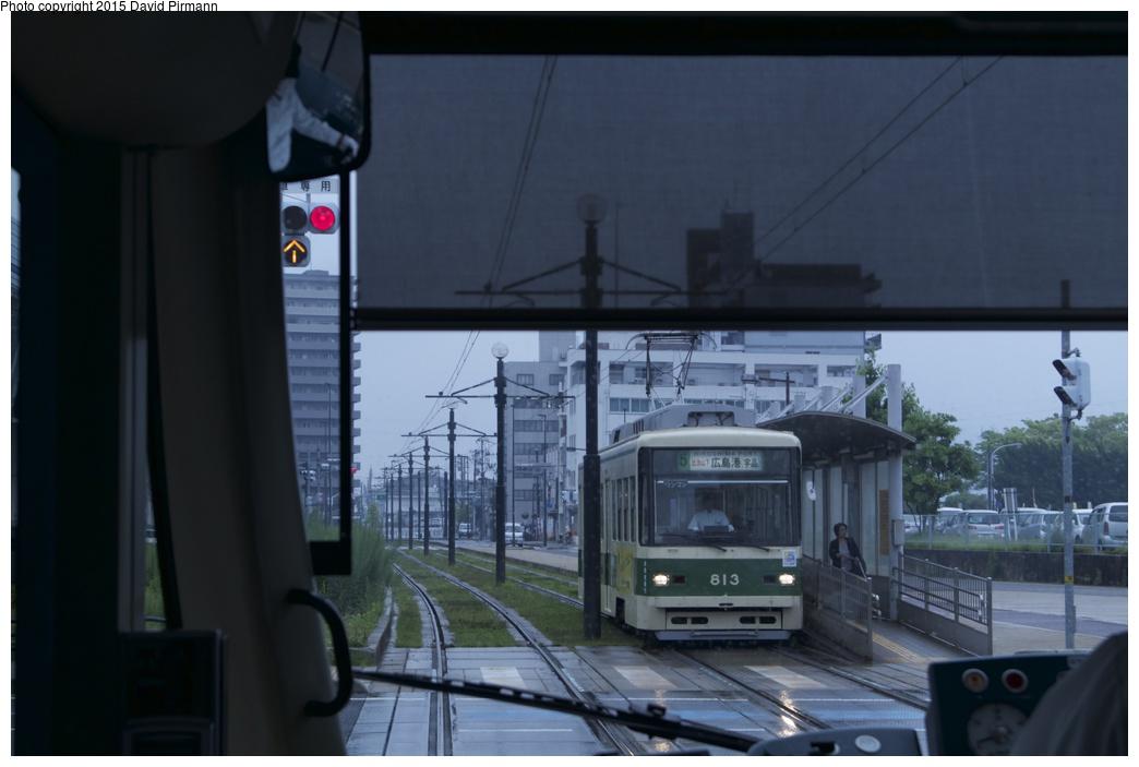 (179k, 1044x703)<br><b>Country:</b> Japan<br><b>City:</b> Hiroshima<br><b>System:</b> Hiroden (Hiroshima Electric Railway)<br><b>Location:</b> U17 Motoujina-guchi 元宇品口<br><b>Car:</b>  813 <br><b>Photo by:</b> David Pirmann<br><b>Date:</b> 6/11/2015<br><b>Viewed (this week/total):</b> 0 / 704