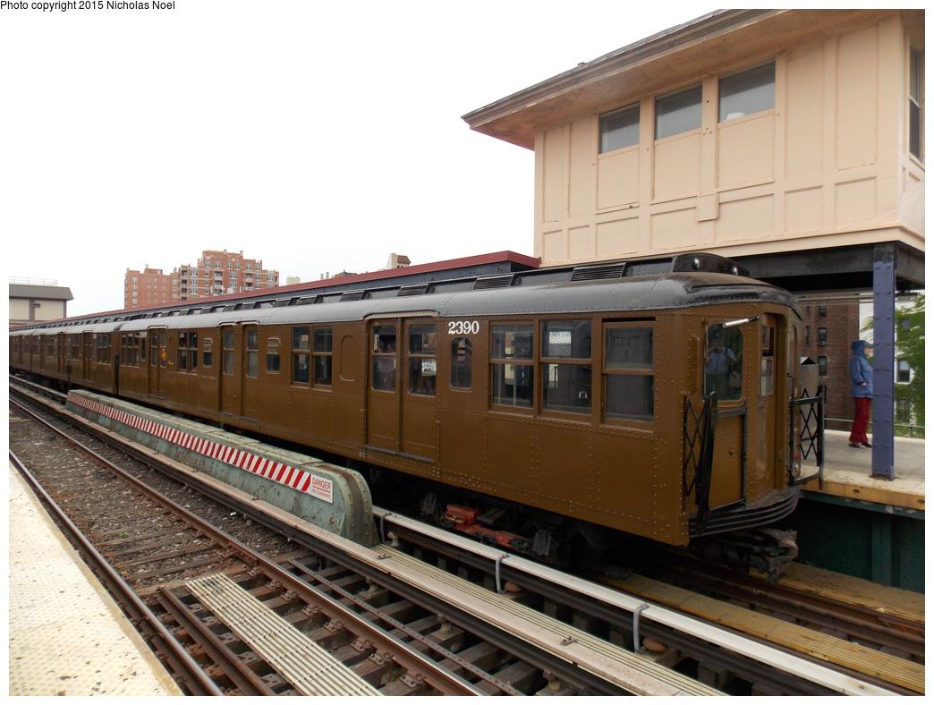 (354k, 1044x788)<br><b>Country:</b> United States<br><b>City:</b> New York<br><b>System:</b> New York City Transit<br><b>Line:</b> BMT Brighton Line<br><b>Location:</b> Brighton Beach<br><b>Route:</b> Museum Train Service<br><b>Car:</b> BMT A/B-Type Standard 2390 <br><b>Photo by:</b> Nicholas Noel<br><b>Date:</b> 6/27/2015<br><b>Notes:</b> BMT 100th Anniversary celebration service.<br><b>Viewed (this week/total):</b> 3 / 1240