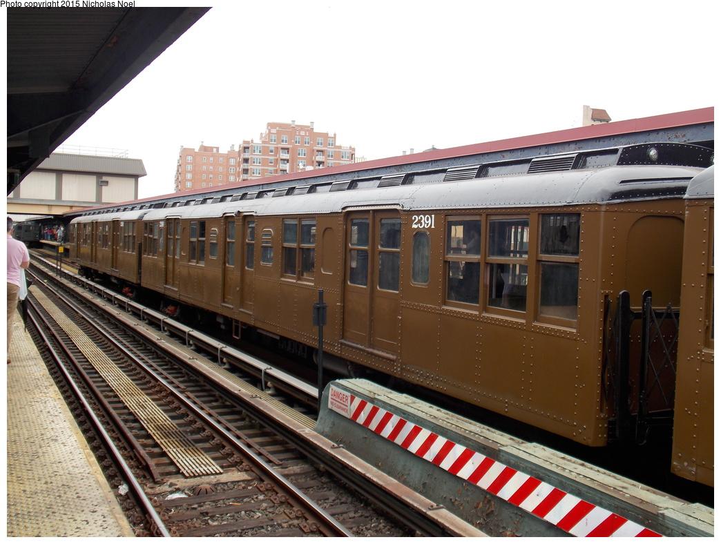 (384k, 1044x788)<br><b>Country:</b> United States<br><b>City:</b> New York<br><b>System:</b> New York City Transit<br><b>Line:</b> BMT Brighton Line<br><b>Location:</b> Brighton Beach<br><b>Route:</b> Museum Train Service<br><b>Car:</b> BMT A/B-Type Standard 2391 <br><b>Photo by:</b> Nicholas Noel<br><b>Date:</b> 6/27/2015<br><b>Notes:</b> BMT 100th Anniversary celebration service.<br><b>Viewed (this week/total):</b> 2 / 976