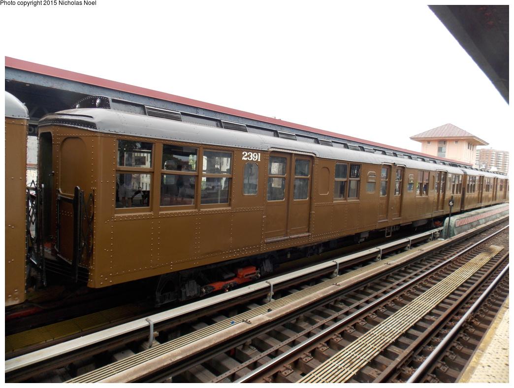 (354k, 1044x788)<br><b>Country:</b> United States<br><b>City:</b> New York<br><b>System:</b> New York City Transit<br><b>Line:</b> BMT Brighton Line<br><b>Location:</b> Brighton Beach<br><b>Route:</b> Museum Train Service<br><b>Car:</b> BMT A/B-Type Standard 2391 <br><b>Photo by:</b> Nicholas Noel<br><b>Date:</b> 6/27/2015<br><b>Notes:</b> BMT 100th Anniversary celebration service.<br><b>Viewed (this week/total):</b> 2 / 984