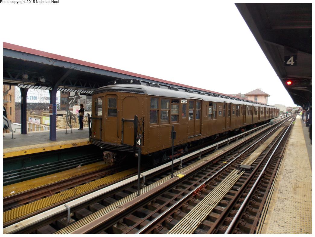 (375k, 1044x788)<br><b>Country:</b> United States<br><b>City:</b> New York<br><b>System:</b> New York City Transit<br><b>Line:</b> BMT Brighton Line<br><b>Location:</b> Brighton Beach<br><b>Route:</b> Museum Train Service<br><b>Car:</b> BMT A/B-Type Standard 2392 <br><b>Photo by:</b> Nicholas Noel<br><b>Date:</b> 6/27/2015<br><b>Notes:</b> BMT 100th Anniversary celebration service.<br><b>Viewed (this week/total):</b> 3 / 1005