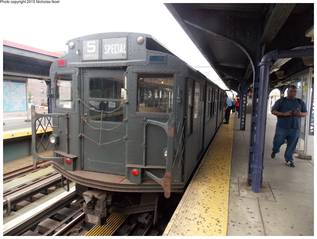 (373k, 1044x788)<br><b>Country:</b> United States<br><b>City:</b> New York<br><b>System:</b> New York City Transit<br><b>Line:</b> BMT Brighton Line<br><b>Location:</b> Brighton Beach<br><b>Route:</b> Museum Train Service<br><b>Car:</b> R-6-3 (American Car & Foundry, 1935) 1000 <br><b>Photo by:</b> Nicholas Noel<br><b>Date:</b> 6/27/2015<br><b>Notes:</b> BMT 100th Anniversary celebration service.<br><b>Viewed (this week/total):</b> 1 / 1129
