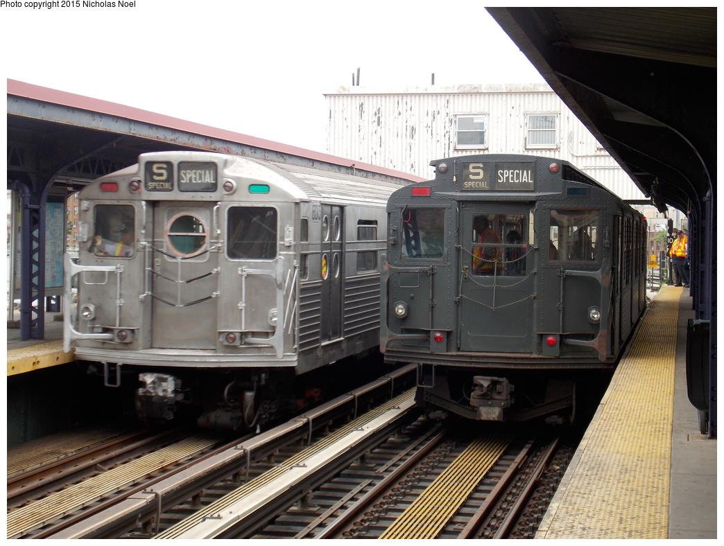 (370k, 1044x788)<br><b>Country:</b> United States<br><b>City:</b> New York<br><b>System:</b> New York City Transit<br><b>Line:</b> BMT Brighton Line<br><b>Location:</b> Brighton Beach<br><b>Route:</b> Museum Train Service<br><b>Car:</b> R-6-3 (American Car & Foundry, 1935) 1000 <br><b>Photo by:</b> Nicholas Noel<br><b>Date:</b> 6/27/2015<br><b>Notes:</b> BMT 100th Anniversary celebration service. With R-11 8013 heading to Kings Highway.<br><b>Viewed (this week/total):</b> 2 / 1136