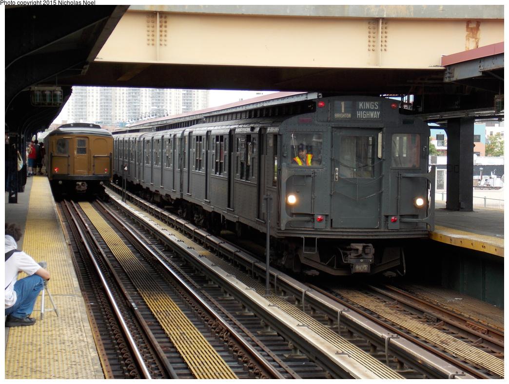(411k, 1044x788)<br><b>Country:</b> United States<br><b>City:</b> New York<br><b>System:</b> New York City Transit<br><b>Line:</b> BMT Brighton Line<br><b>Location:</b> Brighton Beach<br><b>Route:</b> Museum Train Service<br><b>Car:</b> R-1 (American Car & Foundry, 1930-1931) 381 <br><b>Photo by:</b> Nicholas Noel<br><b>Date:</b> 6/27/2015<br><b>Notes:</b> BMT 100th Anniversary celebration service. With BMT Standard 2392.<br><b>Viewed (this week/total):</b> 1 / 1126