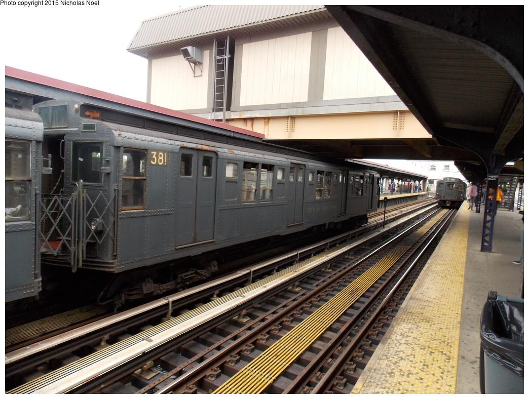 (404k, 1044x788)<br><b>Country:</b> United States<br><b>City:</b> New York<br><b>System:</b> New York City Transit<br><b>Line:</b> BMT Brighton Line<br><b>Location:</b> Brighton Beach<br><b>Route:</b> Museum Train Service<br><b>Car:</b> R-1 (American Car & Foundry, 1930-1931) 381 <br><b>Photo by:</b> Nicholas Noel<br><b>Date:</b> 6/27/2015<br><b>Notes:</b> BMT 100th Anniversary celebration service.<br><b>Viewed (this week/total):</b> 1 / 870