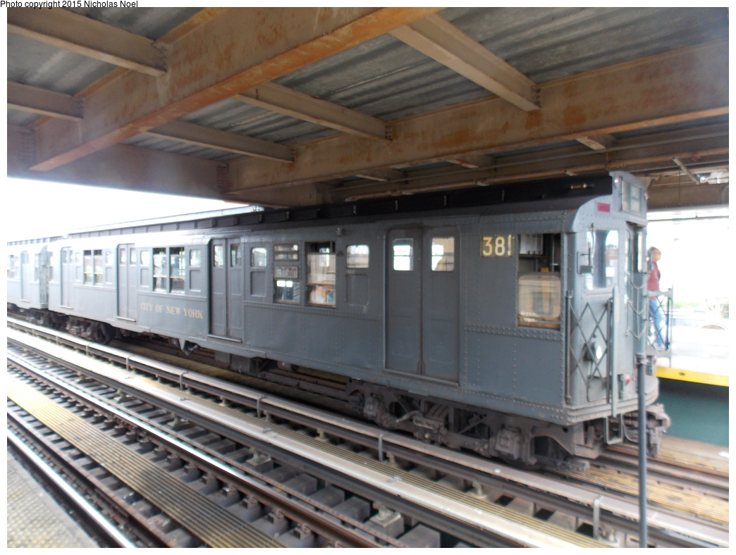(350k, 1044x788)<br><b>Country:</b> United States<br><b>City:</b> New York<br><b>System:</b> New York City Transit<br><b>Line:</b> BMT Brighton Line<br><b>Location:</b> Brighton Beach<br><b>Route:</b> Museum Train Service<br><b>Car:</b> R-1 (American Car & Foundry, 1930-1931) 381 <br><b>Photo by:</b> Nicholas Noel<br><b>Date:</b> 6/27/2015<br><b>Notes:</b> BMT 100th Anniversary celebration service.<br><b>Viewed (this week/total):</b> 1 / 1230
