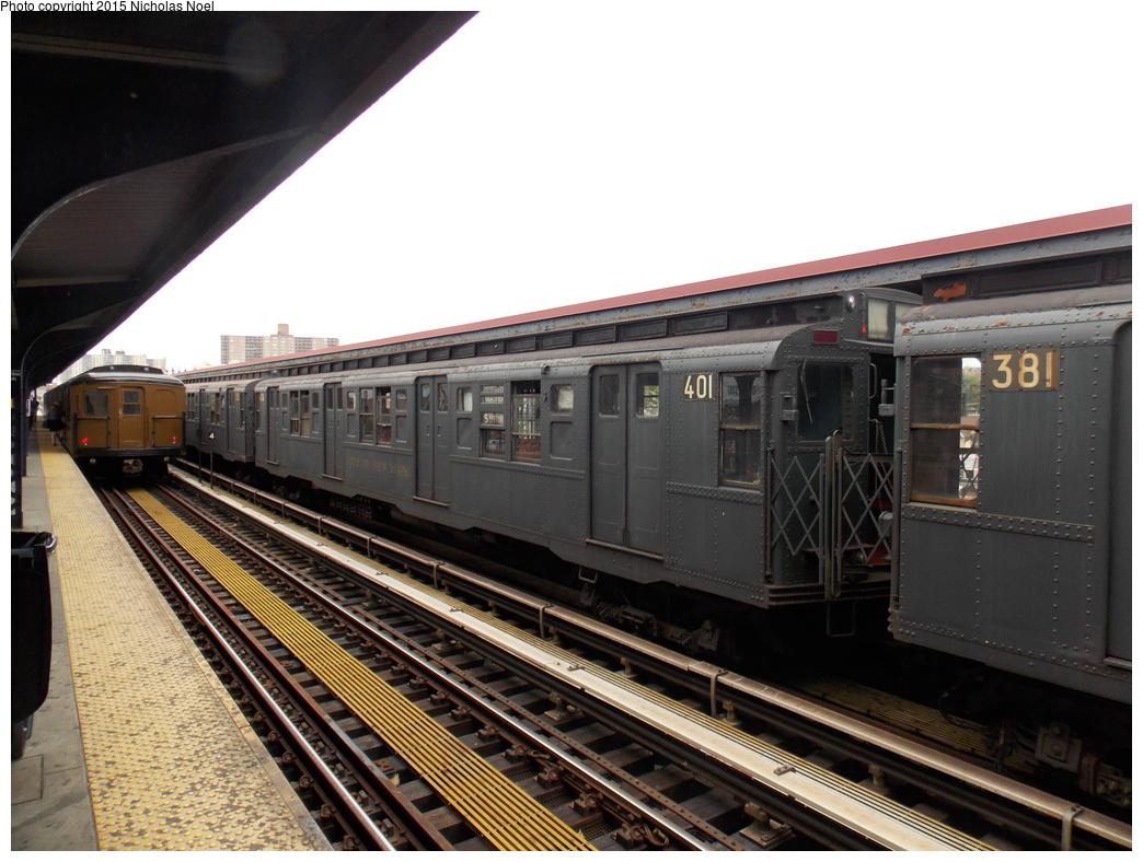 (355k, 1044x788)<br><b>Country:</b> United States<br><b>City:</b> New York<br><b>System:</b> New York City Transit<br><b>Line:</b> BMT Brighton Line<br><b>Location:</b> Brighton Beach<br><b>Route:</b> Museum Train Service<br><b>Car:</b> R-4 (American Car & Foundry, 1932-1933) 401 <br><b>Photo by:</b> Nicholas Noel<br><b>Date:</b> 6/27/2015<br><b>Notes:</b> BMT 100th Anniversary celebration service.<br><b>Viewed (this week/total):</b> 1 / 1039