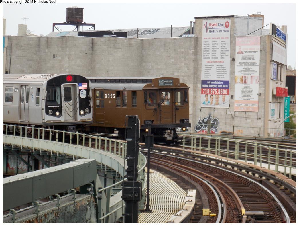 (391k, 1044x788)<br><b>Country:</b> United States<br><b>City:</b> New York<br><b>System:</b> New York City Transit<br><b>Line:</b> BMT Brighton Line<br><b>Location:</b> Brighton Beach<br><b>Route:</b> Museum Train Service<br><b>Car:</b> BMT D-Type Triplex 6095 <br><b>Photo by:</b> Nicholas Noel<br><b>Date:</b> 6/27/2015<br><b>Notes:</b> BMT 100th Anniversary celebration service. With Coney Island-bound R-160 9072 on the Q approaching Brighton Beach.<br><b>Viewed (this week/total):</b> 1 / 1287