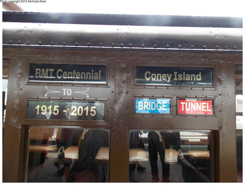 (354k, 1044x788)<br><b>Country:</b> United States<br><b>City:</b> New York<br><b>System:</b> New York City Transit<br><b>Line:</b> BMT Brighton Line<br><b>Location:</b> Brighton Beach<br><b>Route:</b> Museum Train Service<br><b>Car:</b> BMT D-Type Triplex 6112 <br><b>Photo by:</b> Nicholas Noel<br><b>Date:</b> 6/27/2015<br><b>Notes:</b> BMT 100th Anniversary celebration service.<br><b>Viewed (this week/total):</b> 1 / 1351