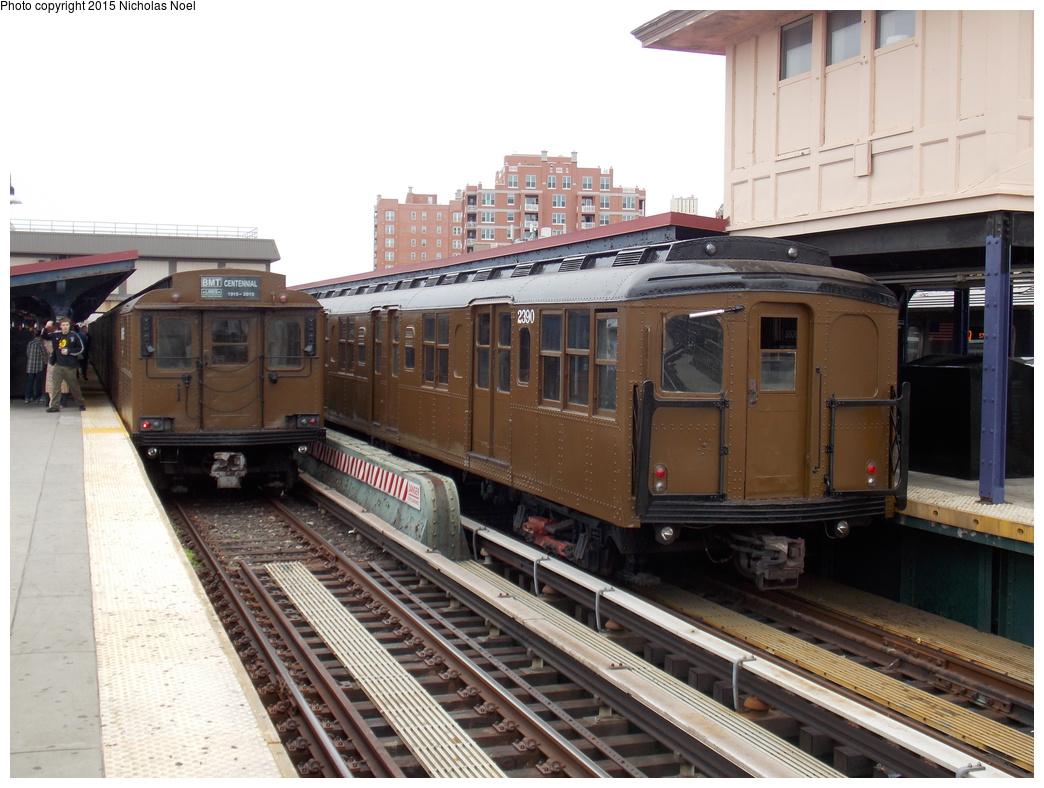 (363k, 1044x788)<br><b>Country:</b> United States<br><b>City:</b> New York<br><b>System:</b> New York City Transit<br><b>Line:</b> BMT Brighton Line<br><b>Location:</b> Brighton Beach<br><b>Route:</b> Museum Train Service<br><b>Car:</b> BMT A/B-Type Standard 2390 <br><b>Photo by:</b> Nicholas Noel<br><b>Date:</b> 6/27/2015<br><b>Notes:</b> BMT 100th Anniversary celebration service. With BMT D-Type Triplex 6095.<br><b>Viewed (this week/total):</b> 2 / 1293