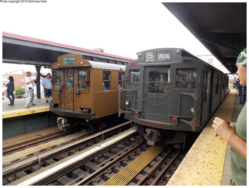 (377k, 1044x788)<br><b>Country:</b> United States<br><b>City:</b> New York<br><b>System:</b> New York City Transit<br><b>Line:</b> BMT Brighton Line<br><b>Location:</b> Brighton Beach<br><b>Route:</b> Museum Train Service<br><b>Car:</b> R-6-3 (American Car & Foundry, 1935) 1000 <br><b>Photo by:</b> Nicholas Noel<br><b>Date:</b> 6/27/2015<br><b>Notes:</b> BMT 100th Anniversary celebration service. With BMT D-Type 6095 outbound to Kings Highway.<br><b>Viewed (this week/total):</b> 1 / 1059