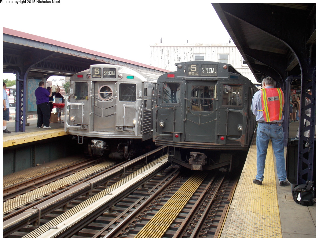 (400k, 1044x788)<br><b>Country:</b> United States<br><b>City:</b> New York<br><b>System:</b> New York City Transit<br><b>Line:</b> BMT Brighton Line<br><b>Location:</b> Brighton Beach<br><b>Route:</b> Museum Train Service<br><b>Car:</b> R-6-3 (American Car & Foundry, 1935) 1000 <br><b>Photo by:</b> Nicholas Noel<br><b>Date:</b> 6/27/2015<br><b>Notes:</b> BMT 100th Anniversary celebration service. With R-11 8013 pulling into Brighton Beach.<br><b>Viewed (this week/total):</b> 1 / 1053