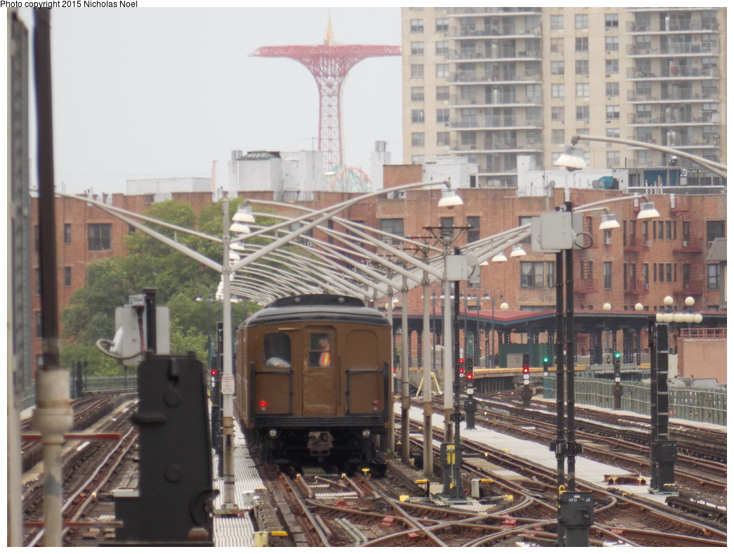 (370k, 1044x788)<br><b>Country:</b> United States<br><b>City:</b> New York<br><b>System:</b> New York City Transit<br><b>Line:</b> BMT Brighton Line<br><b>Location:</b> Brighton Beach<br><b>Route:</b> Museum Train Service<br><b>Car:</b> BMT A/B-Type Standard 2390 <br><b>Photo by:</b> Nicholas Noel<br><b>Date:</b> 6/27/2015<br><b>Notes:</b> BMT 100th Anniversary celebration service.<br><b>Viewed (this week/total):</b> 1 / 1314