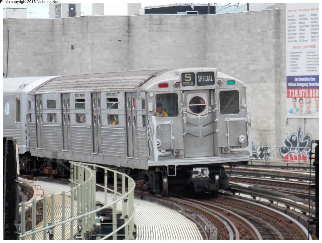(373k, 1044x788)<br><b>Country:</b> United States<br><b>City:</b> New York<br><b>System:</b> New York City Transit<br><b>Line:</b> BMT Brighton Line<br><b>Location:</b> Brighton Beach<br><b>Route:</b> Museum Train Service<br><b>Car:</b> R-11 (Budd, 1949) 8013 <br><b>Photo by:</b> Nicholas Noel<br><b>Date:</b> 6/27/2015<br><b>Notes:</b> BMT 100th Anniversary celebration service.<br><b>Viewed (this week/total):</b> 1 / 1524