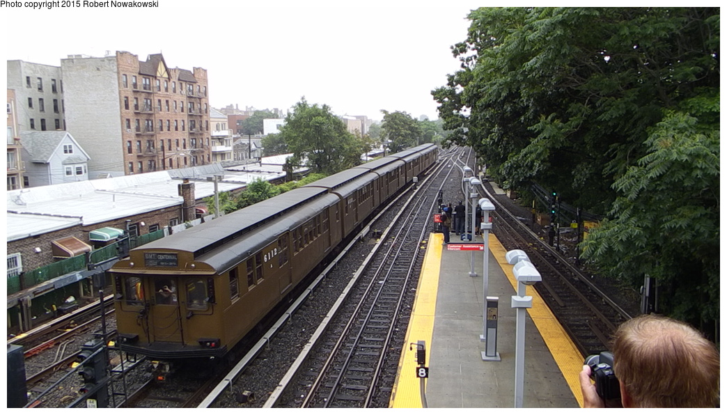 (298k, 1044x596)<br><b>Country:</b> United States<br><b>City:</b> New York<br><b>System:</b> New York City Transit<br><b>Line:</b> BMT Brighton Line<br><b>Location:</b> Kings Highway<br><b>Route:</b> Museum Train Service<br><b>Car:</b> BMT D-Type Triplex 6112 <br><b>Photo by:</b> Robert Nowakowski<br><b>Date:</b> 6/28/2015<br><b>Notes:</b> BMT 100th Anniversary celebration.<br><b>Viewed (this week/total):</b> 0 / 1421