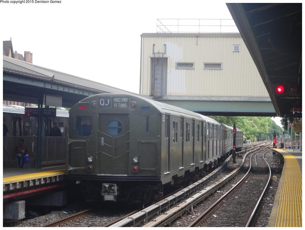 (312k, 1044x788)<br><b>Country:</b> United States<br><b>City:</b> New York<br><b>System:</b> New York City Transit<br><b>Line:</b> BMT Brighton Line<br><b>Location:</b> Kings Highway<br><b>Route:</b> Museum Train Service<br><b>Car:</b> R-16 (American Car & Foundry, 1955) 6387 <br><b>Photo by:</b> Denilson Gomez<br><b>Date:</b> 6/28/2015<br><b>Notes:</b> BMT 100th Anniversary celebration.<br><b>Viewed (this week/total):</b> 0 / 1559