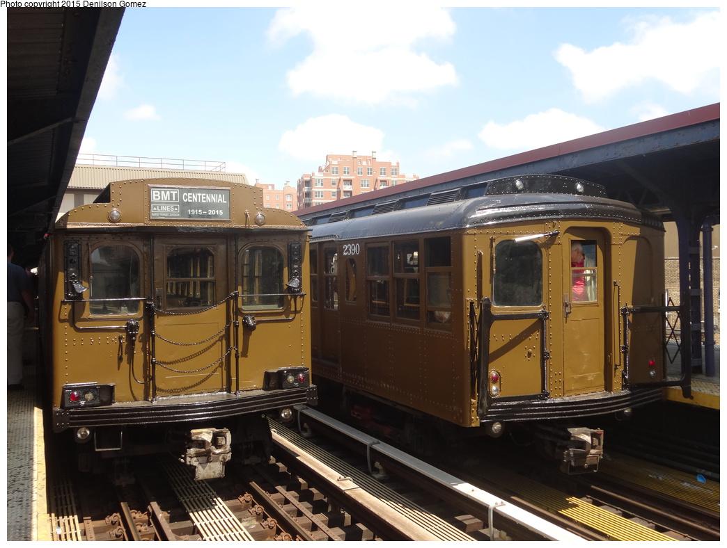 (337k, 1044x788)<br><b>Country:</b> United States<br><b>City:</b> New York<br><b>System:</b> New York City Transit<br><b>Line:</b> BMT Brighton Line<br><b>Location:</b> Brighton Beach<br><b>Route:</b> Museum Train Service<br><b>Car:</b> BMT D-Type Triplex 6095 <br><b>Photo by:</b> Denilson Gomez<br><b>Date:</b> 6/28/2015<br><b>Notes:</b> BMT 100th Anniversary celebration. With BMT A/B Standard 2390<br><b>Viewed (this week/total):</b> 0 / 1154