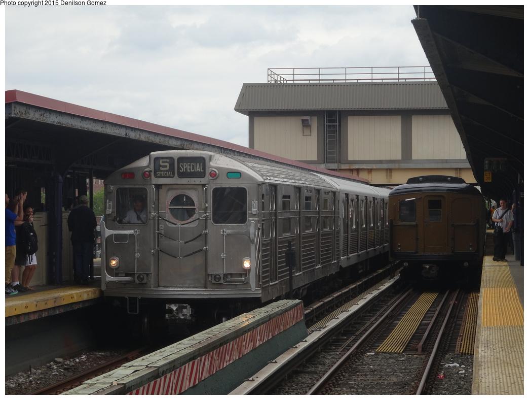 (305k, 1044x788)<br><b>Country:</b> United States<br><b>City:</b> New York<br><b>System:</b> New York City Transit<br><b>Line:</b> BMT Brighton Line<br><b>Location:</b> Brighton Beach<br><b>Route:</b> Museum Train Service<br><b>Car:</b> R-11 (Budd, 1949) 8013 <br><b>Photo by:</b> Denilson Gomez<br><b>Date:</b> 6/28/2015<br><b>Notes:</b> BMT 100th Anniversary celebration. With BMT A/B Standard 2390<br><b>Viewed (this week/total):</b> 0 / 1331