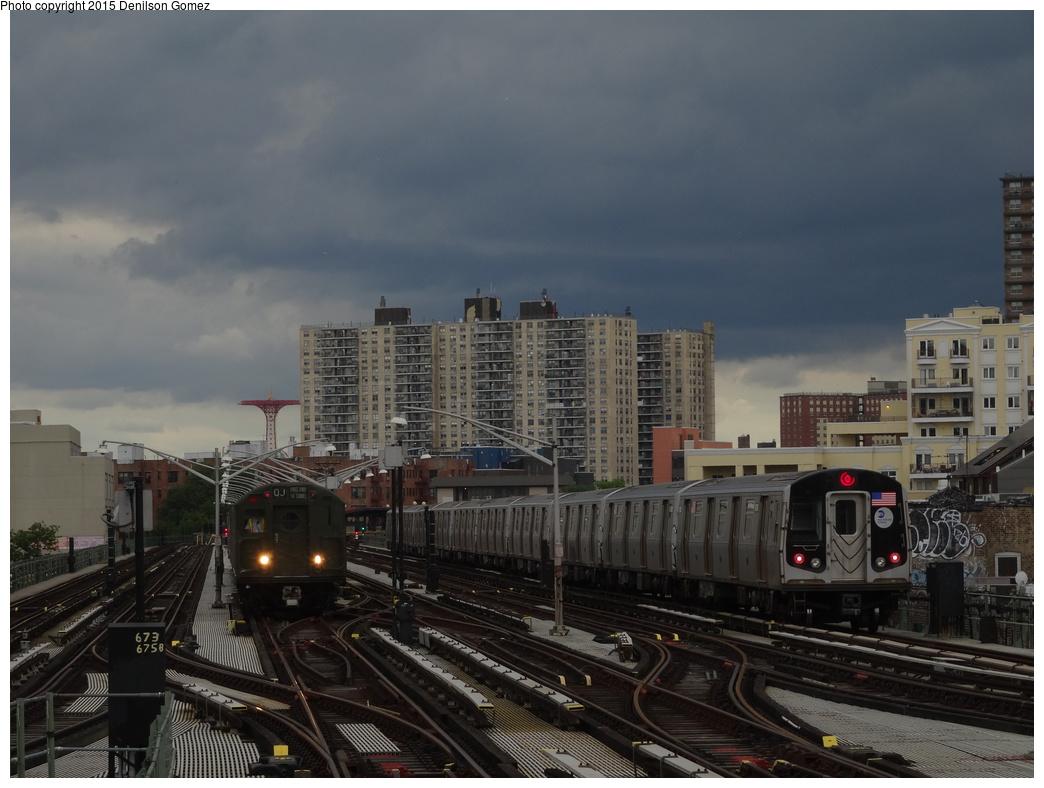 (306k, 1044x788)<br><b>Country:</b> United States<br><b>City:</b> New York<br><b>System:</b> New York City Transit<br><b>Line:</b> BMT Brighton Line<br><b>Location:</b> Brighton Beach<br><b>Route:</b> Museum Train Service<br><b>Car:</b> R-16 (American Car & Foundry, 1955) 6387 <br><b>Photo by:</b> Denilson Gomez<br><b>Date:</b> 6/28/2015<br><b>Notes:</b> BMT 100th Anniversary celebration. With R160B (Q)<br><b>Viewed (this week/total):</b> 1 / 1505
