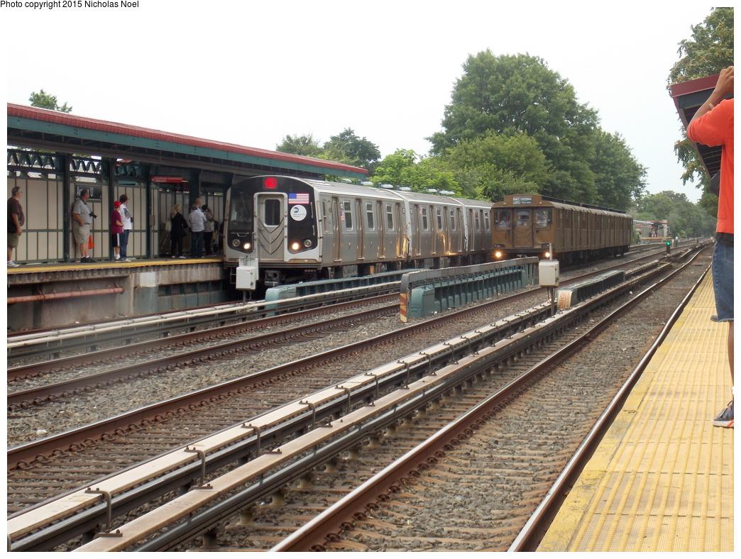 (439k, 1044x788)<br><b>Country:</b> United States<br><b>City:</b> New York<br><b>System:</b> New York City Transit<br><b>Line:</b> BMT Brighton Line<br><b>Location:</b> Avenue U<br><b>Route:</b> Museum Train Service<br><b>Car:</b> BMT D-Type Triplex 6112 <br><b>Photo by:</b> Nicholas Noel<br><b>Date:</b> 6/27/2015<br><b>Notes:</b> BMT 100th Anniversary celebration. With R-160 Q train<br><b>Viewed (this week/total):</b> 3 / 1427