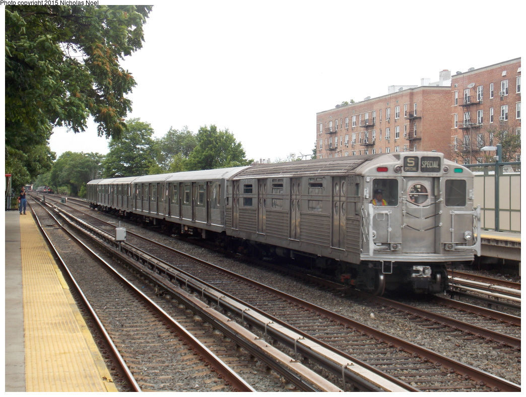 (412k, 1044x788)<br><b>Country:</b> United States<br><b>City:</b> New York<br><b>System:</b> New York City Transit<br><b>Line:</b> BMT Brighton Line<br><b>Location:</b> Avenue U<br><b>Route:</b> Museum Train Service<br><b>Car:</b> R-11 (Budd, 1949) 8013 <br><b>Photo by:</b> Nicholas Noel<br><b>Date:</b> 6/27/2015<br><b>Notes:</b> BMT 100th Anniversary celebration<br><b>Viewed (this week/total):</b> 2 / 1614