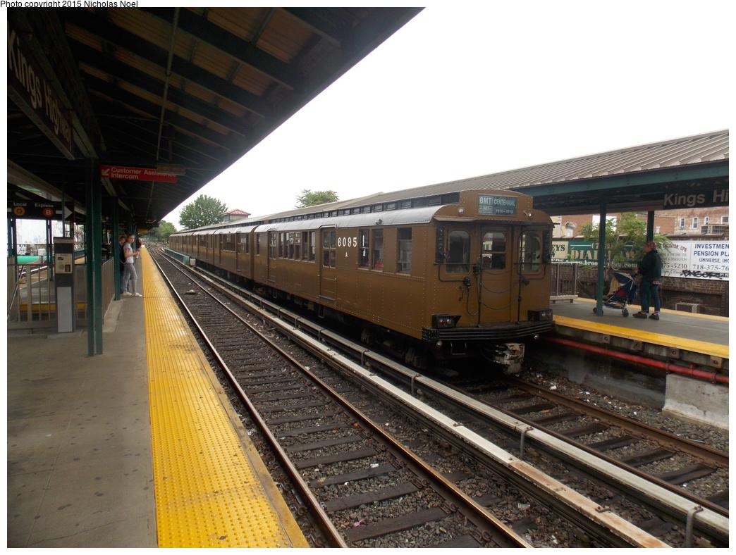 (382k, 1044x788)<br><b>Country:</b> United States<br><b>City:</b> New York<br><b>System:</b> New York City Transit<br><b>Line:</b> BMT Brighton Line<br><b>Location:</b> Sheepshead Bay<br><b>Route:</b> Museum Train Service<br><b>Car:</b> BMT D-Type Triplex 6095 <br><b>Photo by:</b> Nicholas Noel<br><b>Date:</b> 6/28/2015<br><b>Viewed (this week/total):</b> 1 / 1242