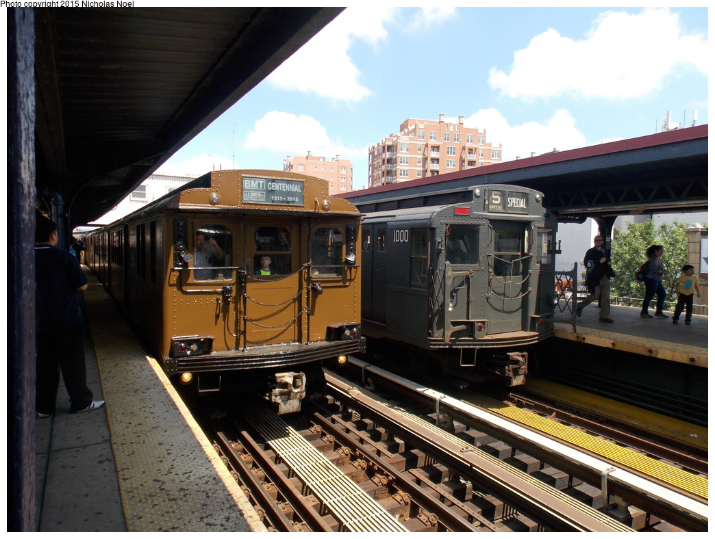 (403k, 1044x788)<br><b>Country:</b> United States<br><b>City:</b> New York<br><b>System:</b> New York City Transit<br><b>Line:</b> BMT Brighton Line<br><b>Location:</b> Brighton Beach<br><b>Route:</b> Museum Train Service<br><b>Car:</b> BMT D-Type Triplex 6095 <br><b>Photo by:</b> Nicholas Noel<br><b>Date:</b> 6/28/2015<br><b>Notes:</b> With R-6 1000<br><b>Viewed (this week/total):</b> 0 / 1119
