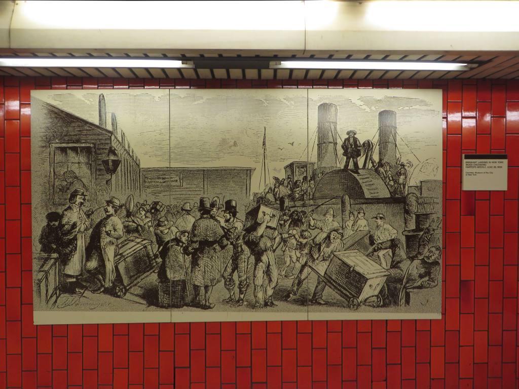 (142k, 1024x768)<br><b>Country:</b> United States<br><b>City:</b> New York<br><b>System:</b> New York City Transit<br><b>Line:</b> IRT East Side Line<br><b>Location:</b> Bowling Green<br><b>Photo by:</b> Robbie Rosenfeld<br><b>Date:</b> 11/16/2014<br><b>Artwork:</b> <i>Historic New York Photographs</i>, artist unknown<br><b>Viewed (this week/total):</b> 1 / 1841