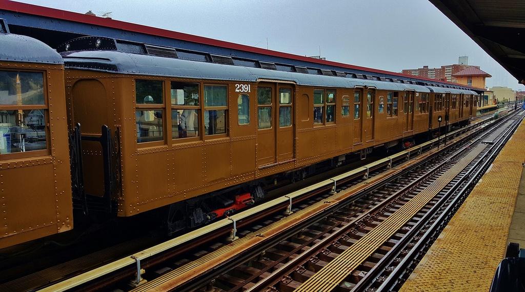 (316k, 1024x569)<br><b>Country:</b> United States<br><b>City:</b> New York<br><b>System:</b> New York City Transit<br><b>Line:</b> BMT Brighton Line<br><b>Location:</b> Brighton Beach<br><b>Route:</b> Museum Train Service<br><b>Car:</b> BMT A/B-Type Standard 2391 <br><b>Photo by:</b> John Dooley<br><b>Date:</b> 6/27/2015<br><b>Viewed (this week/total):</b> 1 / 1443