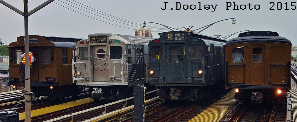 (216k, 1024x423)<br><b>Country:</b> United States<br><b>City:</b> New York<br><b>System:</b> New York City Transit<br><b>Line:</b> BMT Brighton Line<br><b>Location:</b> Brighton Beach<br><b>Route:</b> Museum Train Service<br><b>Photo by:</b> John Dooley<br><b>Date:</b> 6/27/2015<br><b>Notes:</b> D-Type 6095, R-11 8013, R-9 1802, BMT Std. 2932<br><b>Viewed (this week/total):</b> 2 / 1261