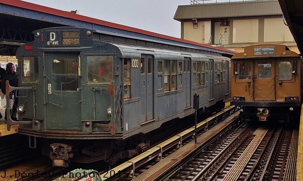 (342k, 1024x610)<br><b>Country:</b> United States<br><b>City:</b> New York<br><b>System:</b> New York City Transit<br><b>Line:</b> BMT Brighton Line<br><b>Location:</b> Brighton Beach<br><b>Route:</b> Museum Train Service<br><b>Car:</b> R-6-3 (American Car & Foundry, 1935) 1000 <br><b>Photo by:</b> John Dooley<br><b>Date:</b> 6/27/2015<br><b>Notes:</b> With D-Type 6095<br><b>Viewed (this week/total):</b> 4 / 1335