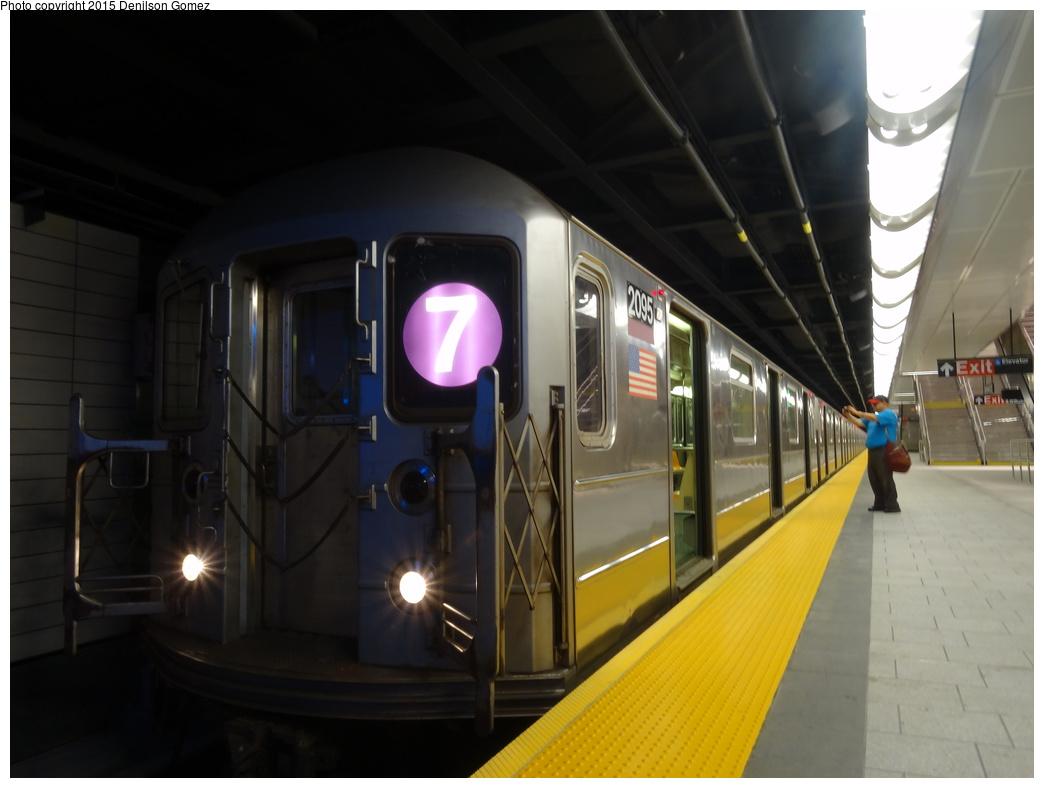 (249k, 1044x788)<br><b>Country:</b> United States<br><b>City:</b> New York<br><b>System:</b> New York City Transit<br><b>Line:</b> IRT Flushing Line<br><b>Location:</b> 34th Street-Hudson Yards<br><b>Route:</b> 7<br><b>Car:</b> R-62A (Bombardier, 1984-1987) 2095 <br><b>Photo by:</b> Denilson Gomez<br><b>Date:</b> 9/15/2015<br><b>Viewed (this week/total):</b> 8 / 1860