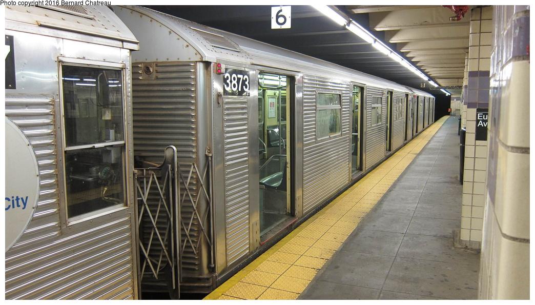 (298k, 1044x595)<br><b>Country:</b> United States<br><b>City:</b> New York<br><b>System:</b> New York City Transit<br><b>Line:</b> IND Fulton Street Line<br><b>Location:</b> Euclid Avenue<br><b>Route:</b> C<br><b>Car:</b> R-32 (Budd, 1964) 3873 <br><b>Photo by:</b> Bernard Chatreau<br><b>Date:</b> 9/25/2011<br><b>Viewed (this week/total):</b> 1 / 886