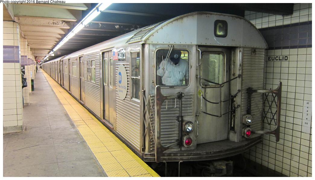 (272k, 1044x595)<br><b>Country:</b> United States<br><b>City:</b> New York<br><b>System:</b> New York City Transit<br><b>Line:</b> IND Fulton Street Line<br><b>Location:</b> Euclid Avenue<br><b>Route:</b> C<br><b>Car:</b> R-32 (Budd, 1964) 3872 <br><b>Photo by:</b> Bernard Chatreau<br><b>Date:</b> 9/25/2011<br><b>Viewed (this week/total):</b> 1 / 1204