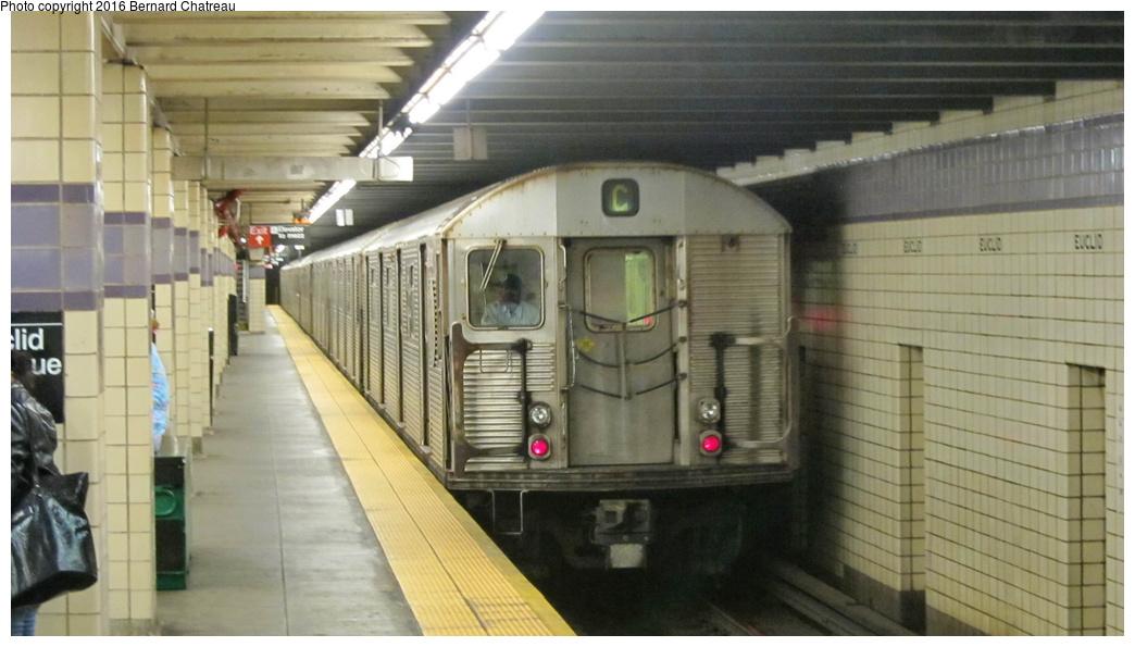 (224k, 1044x595)<br><b>Country:</b> United States<br><b>City:</b> New York<br><b>System:</b> New York City Transit<br><b>Line:</b> IND Fulton Street Line<br><b>Location:</b> Euclid Avenue<br><b>Route:</b> C<br><b>Car:</b> R-32 (Budd, 1964) 3872 <br><b>Photo by:</b> Bernard Chatreau<br><b>Date:</b> 9/25/2011<br><b>Viewed (this week/total):</b> 0 / 923